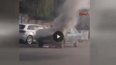 Şanlıurfa-Siverek' Te Otomobil Alev Alev Yandı
