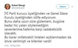Ruhat Mengi İYİ Parti'den istifa etti