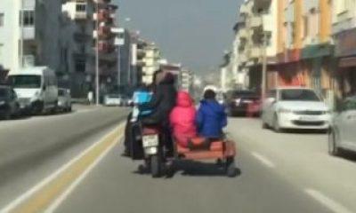 6 kişilik aile motosikletle yolculuk yaptı